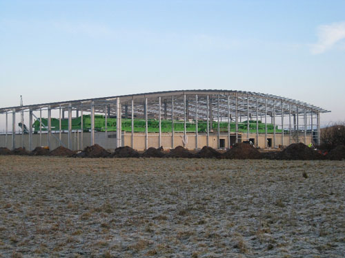 warehouse steelwork under construction